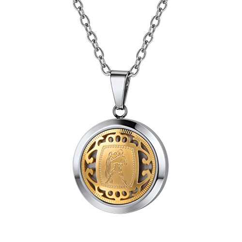 PROSTEEL Aquarius Constellation Necklace Pendant Stainless Steel Gold Horoscope Astrology Zodiac Jewelry Bridesmaid Birthday Gifts for Men Women