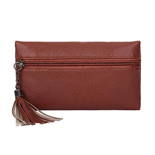 - Vacally Fashion Women Pure Color Tassel Leather Messenger Shoulder Chest Bag (Brown)