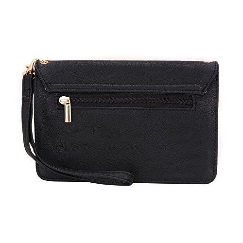 Conze Mujer embrague cartera todo bolsa con correas de hombro compatible con Smart teléfono para Microsoft Lumia 640/Dual SIM negro negro negro