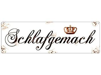 Amazon.de: Interluxe METALLSCHILD Blechschild SCHLAFGEMACH Türschild ...