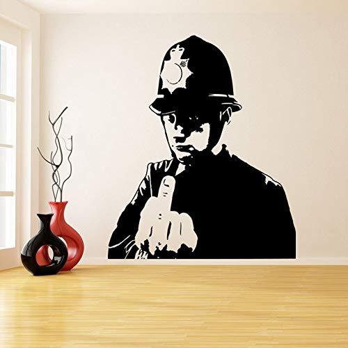 Policía Graffiti Vinilo Etiqueta de La Pared Policía Dedo Medio ...