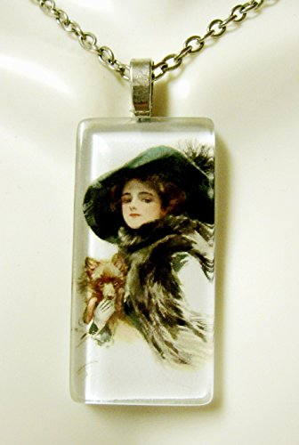 (American beauty with brown puppy glass pendant - DGP02-411 - Harrison Fisher)