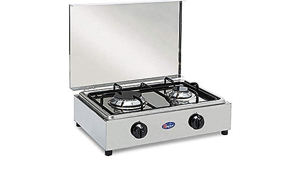 Hornillo de mesa de acero Parker con 2 fuegos con tablero extraíble para la limpieza Alimentación Gas GLP (bombona) con válvulas de seguridad para uso ...