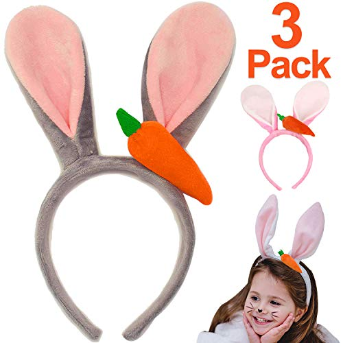 Easter Party Supplies - 3PCS Easter Bunny Boppers Easter Bunny Ears Plush Bunny Ears Headbands with Carrot Rabbit Hairbands for Girls Women Easter Costume Easter Party Favor Easter Party Hats