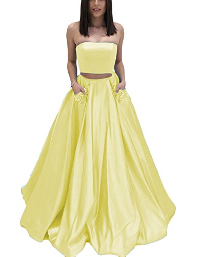 DarlingU Women's Strapless Two Pieces Beaded Prom Evening Dresses Pockets Formal Wedding Party Gowns Light Yellow 6 - 2 Piece Strapless Wedding Dress