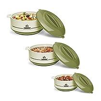Milton Buffet Insulated Steel Casseroles, Junior Gift Set, 3 Pieces, Green