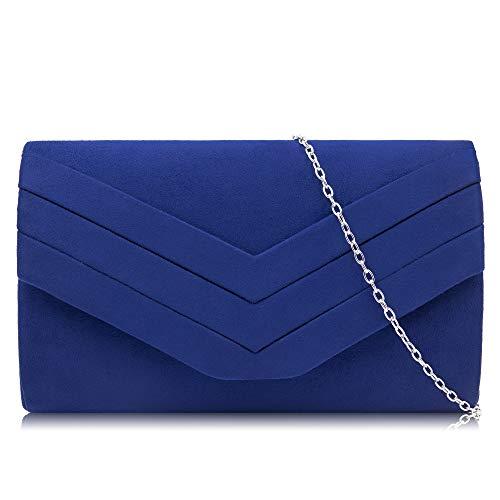 Milisente Clutch Purses for Women Velvet Envelope Evening Bags Classic Shoulder Clutch Purse (Blue) (Blue Clutch Purse)