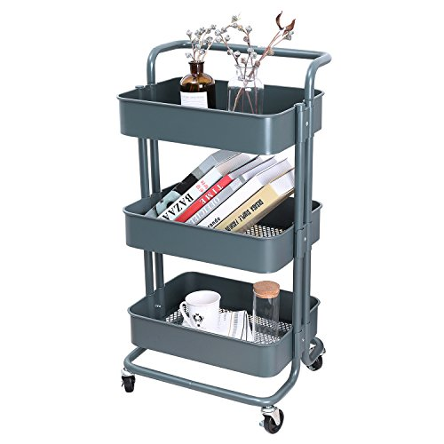Metal Carts Wheels - 3-Tier Metal Mesh Storage Utility Cart with Brake Caster Wheels, Rolling Cart with Removable Handle, Dark Gray