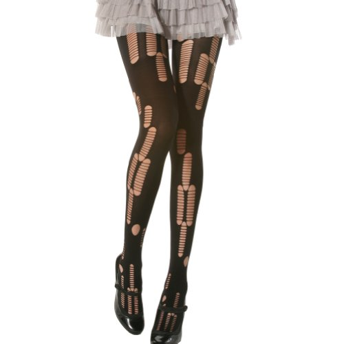 Angelina 1 Pair Ripped/Patterned Opaque Tights, Black, 5293F_1]()
