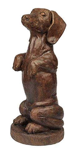Solid Rock Stoneworks Begging Dachshund Statue 17in Tall Walnut Color