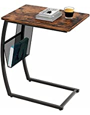EKNITEY C Shaped Side End Table, Rustic Sofa table Vintage Couch Table w/ Side Pocket for Living Room Coffee Snack Laptop