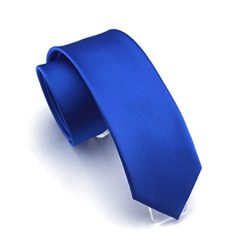 Royal Blue Mens Tie - Solid Royal Blue Color Slim Ties Pure Color Necktie Mens Ties 2.4'' (6cm)+ Gift Box
