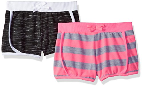 Limited Too Big Girls' 2 Pack Short, Neon Pink with Black/Multi Print, 10/12 by Limited Too