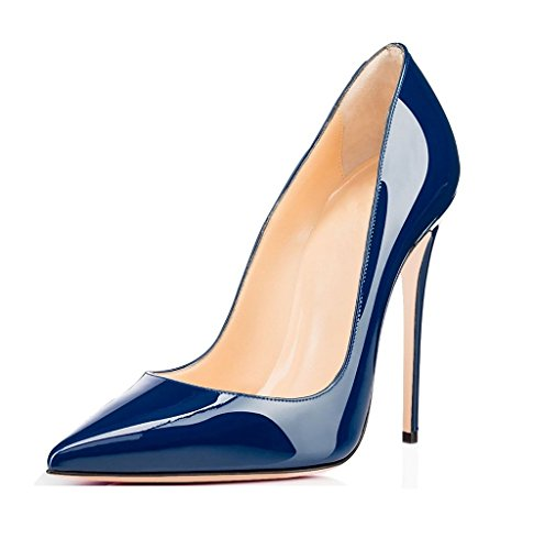 Court Slip Toe Ladies Shoes Pumps Dress on Pointed Shoes High Extreme Heel Womens Blue EDEFS wYH8qZH