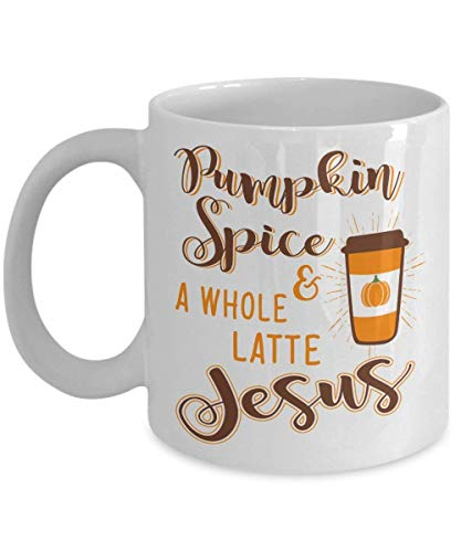 Pumpkin Spice Coffee Mug, Funny Pumpin Spice And A Whole Latte Jesus, Ceramic Mug Cup, Best Halloween, Birthday Gift For Halloween Lover, 11oz, 15oz, gift, present]()