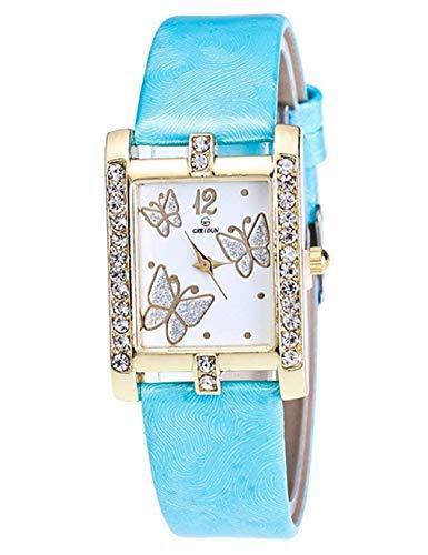 Windoson Women's squareSetting Diamond Three Butterfly Watch Temperament Casual Quartz Hands (Sky Blue)