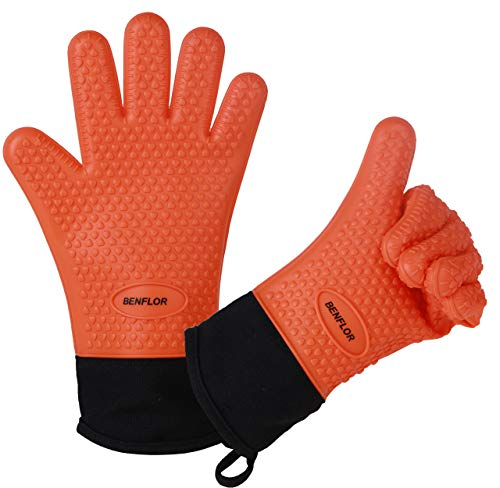 Benflor Grilling Gloves, Double-layer Silicone Gloves with 3.1 Inch Extra Cuff, Cotton Oven Mitt Waterproof Non-Slip for Baking and Cooking, BBQ Heat Resistant Gloves for Grilling - Orange-1 Pair