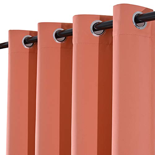 Yakamok Coral Room Darkening Thermal Insulated Solid Grommet Top Blackout Curtains for Bedroom(Coral Orange, 52x84-inch,1 Panel)