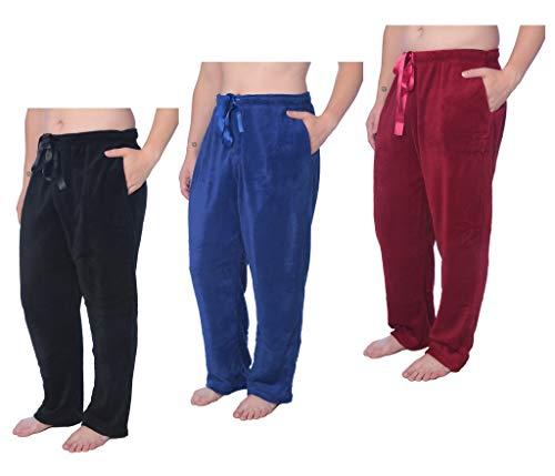 Mens Soft Plush Lounge Pants Coral Fleece Plus Size Long Pajama Pants MENPS01 3 Pack 2X - Lounge Fleece Pants