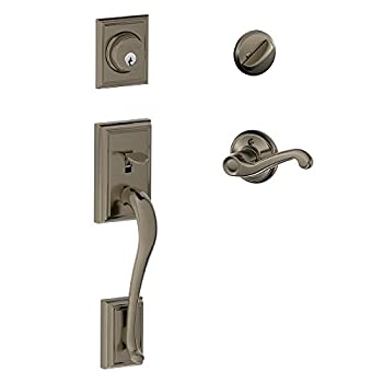 Image of Addison Single Cylinder Handleset and Left Hand Flair Lever, Antique Pewter (F60 ADD 620 FLA LH) Home Improvements