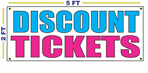 DISCOUNT TICKETS Banner Sign NEW Larger Size for Shows Concerts Events Movies