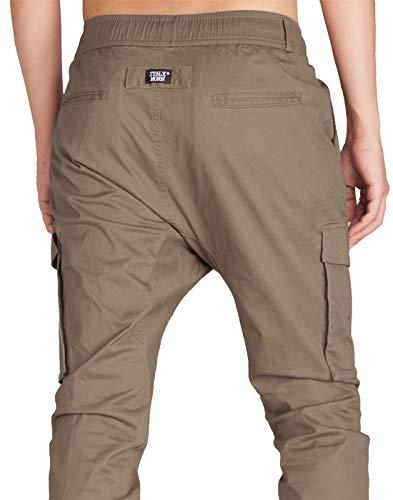 Italy Cotone Cargo Cachi Pantaloni Slim Fit Casual Uomo Sportivi Jogger Morn Legname 0rwfA0