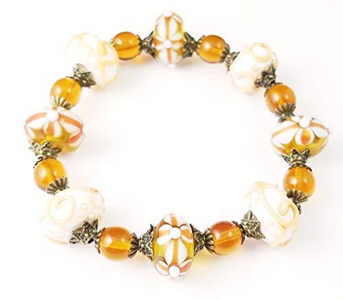 Handmade Beaded Stretch Bracelet~Amber Flowers & Scrolls~Lampwork Glass Beads