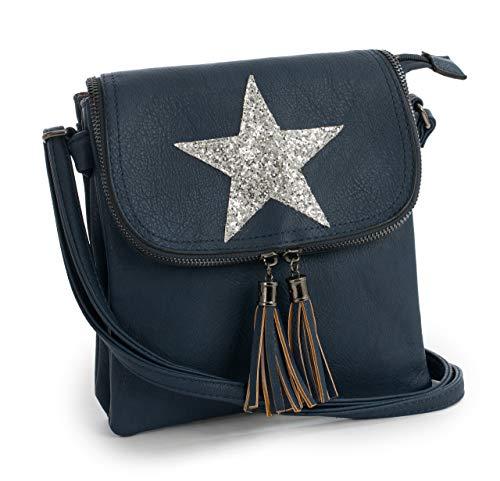 Big Handbag Shop Womens Flapover Cross Body Glitter Star Shoulder Bag - Small Size Navy