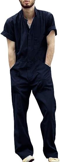NINGSANJIN Herren Overall Herren Arbeitsanzug Kurzarm Work Jumpsuit Sommer D/ünne Schutzlatzhose Onesie Arbeit Freizeit Arbeitsoveralls