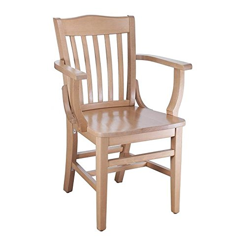 Beechwood Mountain BSD-2A-N Solid Beech Wood Arm Chair in Natural for Kitchen & Dining, NA