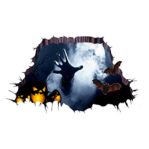 3D Halloween Horror Wall Decor Vivid Ghost Hand Pumpkin Bat Scratching The Wall Cracked Floor Scary Wall Sticker Decal Removable Home Decoration Art Mural Wallpaper