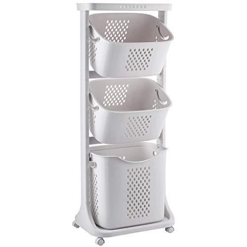 🥇 Yorbay Ropa Sucia obstaculizar Lavadora clasificador Cesta de plástico con diseño de polea habitación de bebé Juguete baño Toalla lavadero Cesto de la Ropa