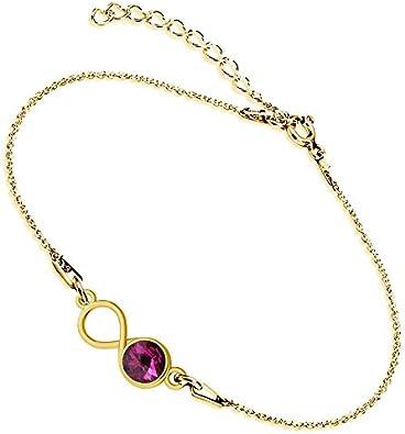 Beforya Paris Infinity - Pulsera ajustable con fucsia, pulsera de plata de ley 925 bañada en oro de 24 K con elementos originales de Swarovski®, pulsera para mujer con bolsa de regalo