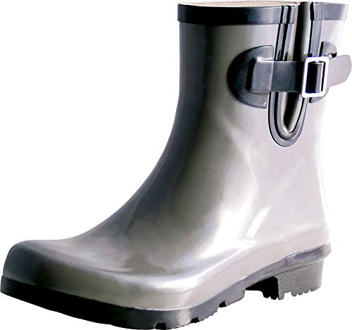 TWO Nomad Women's Dew Waterproof Rubber Ankle Rain Boot,7 M US,Shiny Grey