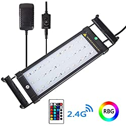 Xcellent Global LED Aquarium Fish Tank Light Extendable Brackets 4 Modes 16 Color Remote Controlled Dimmable RGBW LED Light 11-19 inch M-LD163S