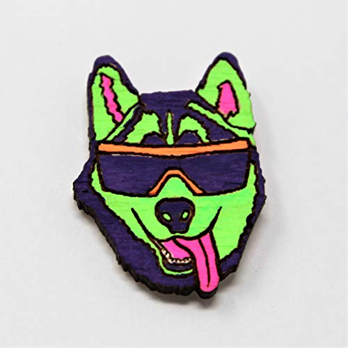 (Party Husky Pin | Hand-Painted Neon UV Fluorescent Reactive Festival Hatpin)