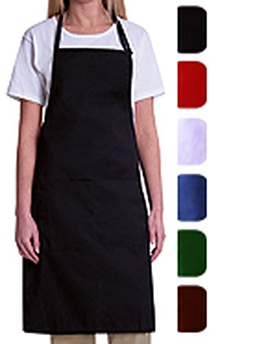 Bib Aprons-MHF Aprons-1 Piece Pack-new Spun Poly-commercial Restaurant Kitchen- (Black)