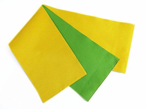 導入する体操選手隣接する長尺ロング無地リバーシブル半巾帯黄色黄緑 浴衣&袴に