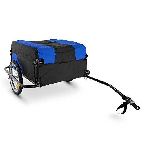Duramaxx Mountee Fahrradhänger Fahrradanhänger Lasten-Anhänger für Fahrräder mit 26-28 Zoll (130l, für max. 60kg, inkl. Regen-Abdeckung und Anhängerkupplung) schwarz-blau