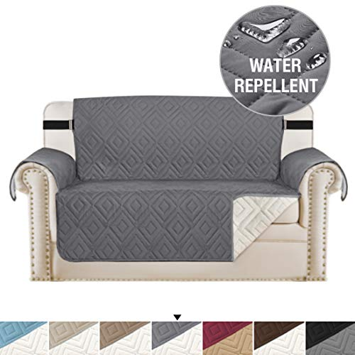 H.VERSAILTEX Luxurious Loveseat Slipcover Reversible Sofa Protector Non Slip, Seat Width Up to 46 Machine Washable Slipcovers for Couches, Couch Furniture Cover for Kids (75 x 90, Gray/Beige)