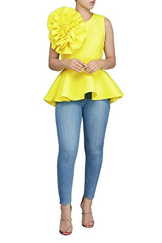 PrettySoul Women's Elegant Round Neck Sleeveless Flounce Ruffle Hem Flower Peplum Blouse Shirt Tops Clubwear Yellow, XX-Large ()