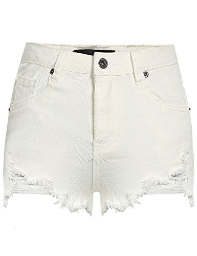 Camii Mia Women's Distressed Cutoff Mid Rise Stretch Slim Denim Shorts (28, White)