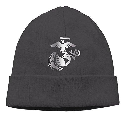 United States Marine Corps Platinum Logo Beanie Cap Black