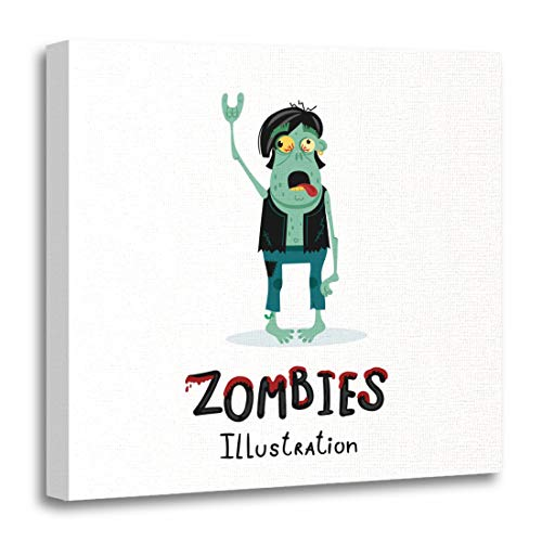 Emvency Canvas Wall Art Print Punk Rocker Zombie Character with Rock Hand Gesture in Cartoon Halloween Undead Horror Monster Personage Artwork for Home Decor 12 x 12 Inches]()