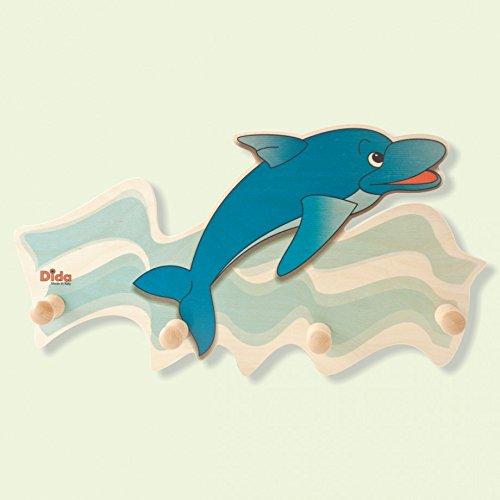Dida - Attaccapanni da parete in legno per arredare la camera dei bimbi con l'animale marino Delfino