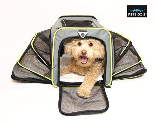 PETS GO2 Premium Small Pet Carrier for Puppies, Small Dogs & Cats – All Airlines Approved – Expandable Walls, Top and…