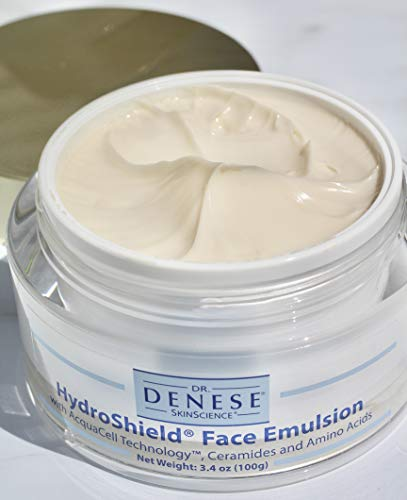 Dr. Denese SkinScience HydroShield Face Emulsion Increased Hydration with Acquacell Technology, Sodium PCA, Hyaluronic Acid, Ceramides & Amino Acids - Softens Look of Dry Lines - Cruelty-Free 3.4oz