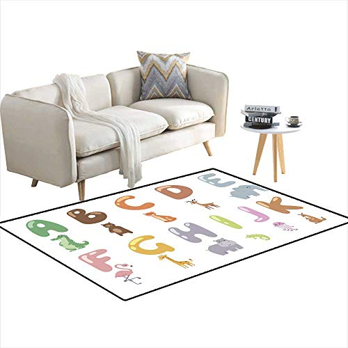Kids Carpet Playmat Rug Cute Zoo Alphabet with Cartoon Animals Isolated on White Background and Funny Letters Wildlife Learn Typography Cute LAN 4'x6'