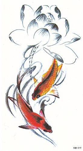 DaLin Medium Temporary Tattoos, 4 Sheets (Lotus and Koi Fish) Koi Tattoo