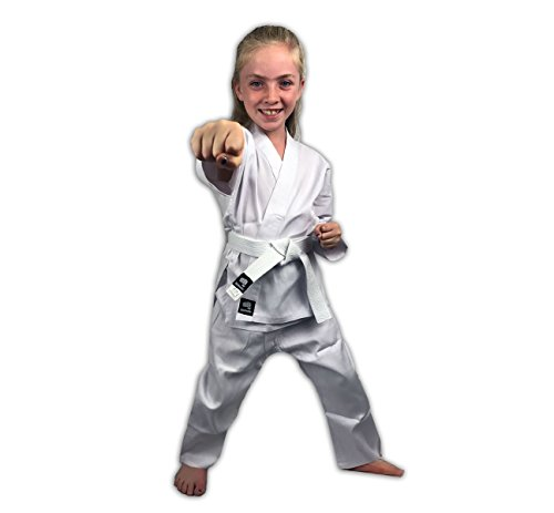 Zephyr Martial Arts Karate Gi Student Uniform with Belt - White - 000